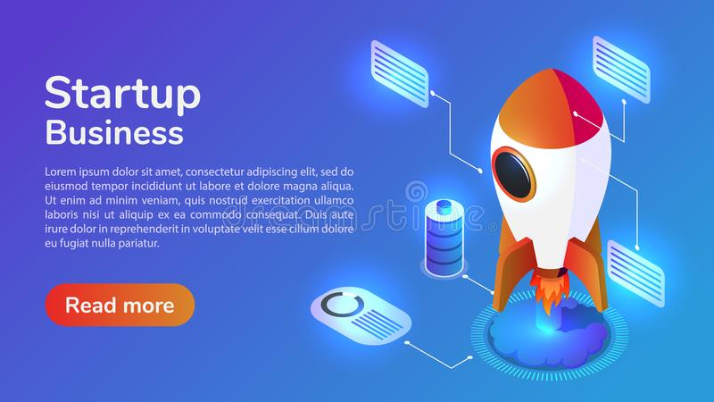 Isometric web banner launches a space rocket stock illustration
