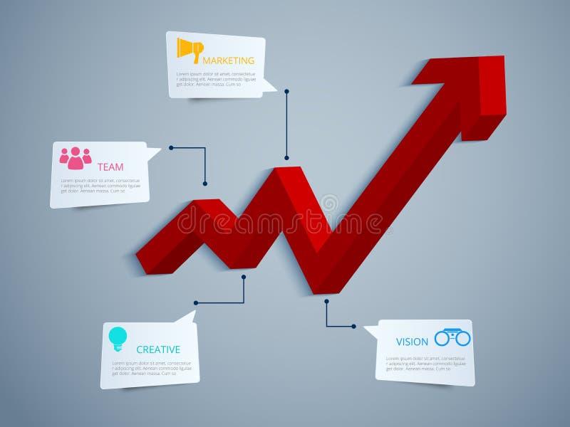 Infographics 3D przyrosta wykres Pomyślny biznesowy pojęcie projekt wprowadzać na rynek infographic szablon z ikonami i elementam royalty ilustracja