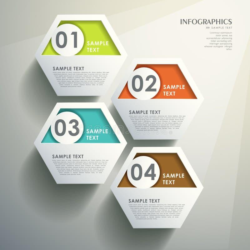 Infographics 3d sextavado abstrato ilustração royalty free