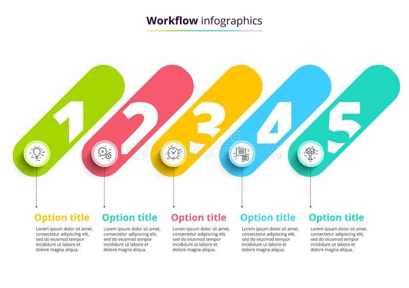 Infographics da carta de processo de negócios com 4 círculos da etapa Circula ilustração royalty free