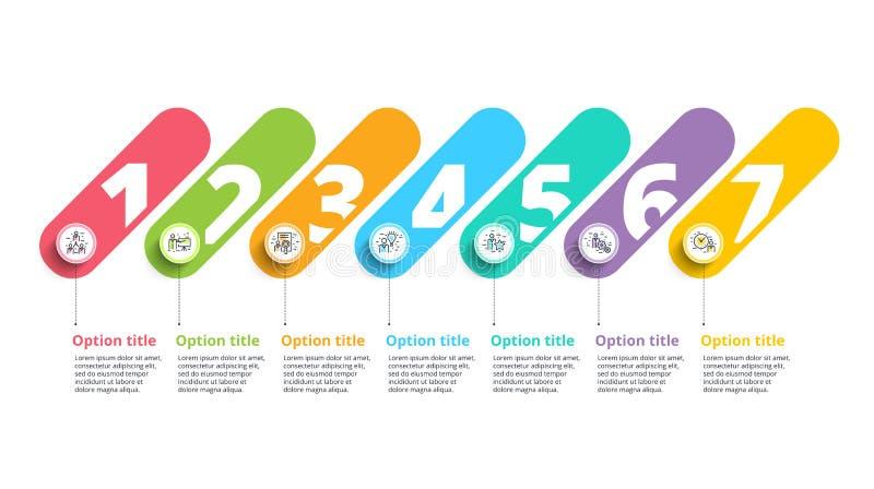 Infographics da carta de processo de negócios com 7 círculos da etapa Circula ilustração do vetor