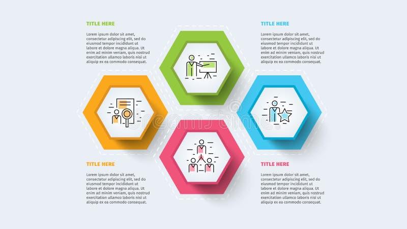 Infographics da carta de processo de negócios com círculos da etapa Elementos incorporados circulares do gráfico do espaço tempor ilustração stock