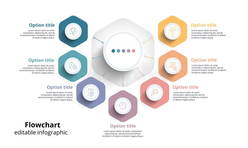 Infographics da carta de processo de negócios com 7 segmentos da etapa Circul ilustração royalty free