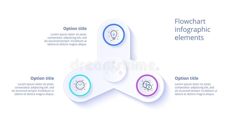Infographics da carta de processo de negócios com 3 segmentos da etapa Circul ilustração stock