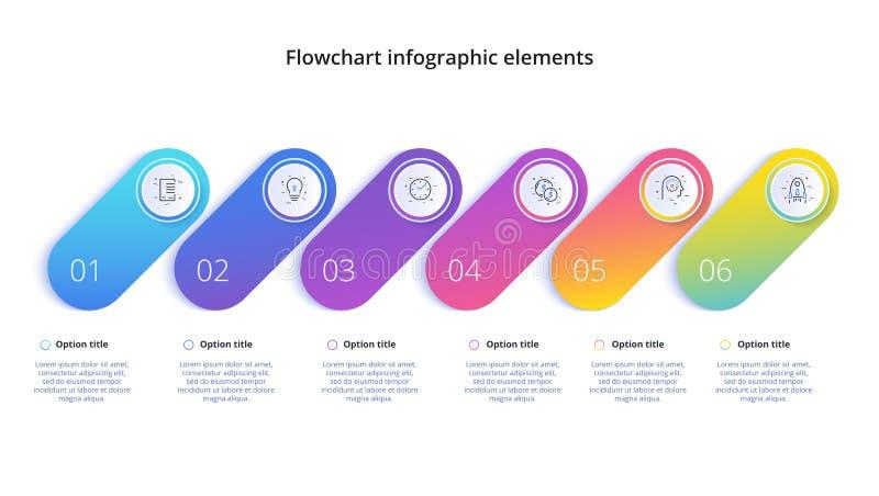 Infographics da carta de processo de negócios com 4 segmentos da etapa Circul ilustração stock