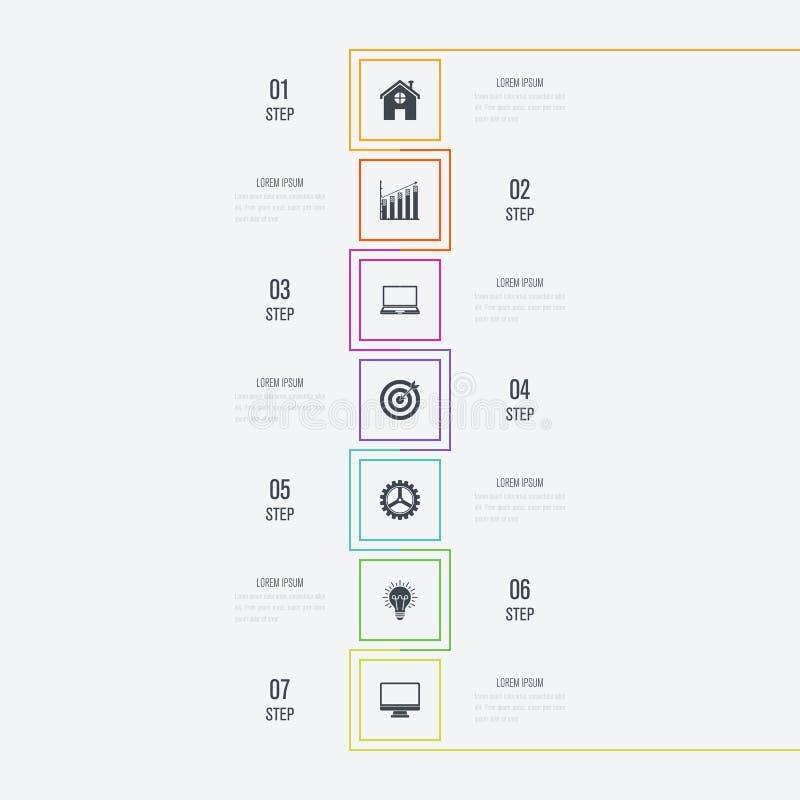Infographics da ilustração do vetor 7 opções ilustração do vetor
