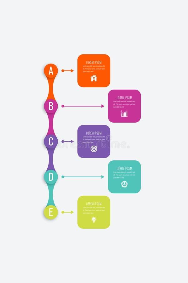Infographics da ilustração do vetor 5 opções ilustração royalty free