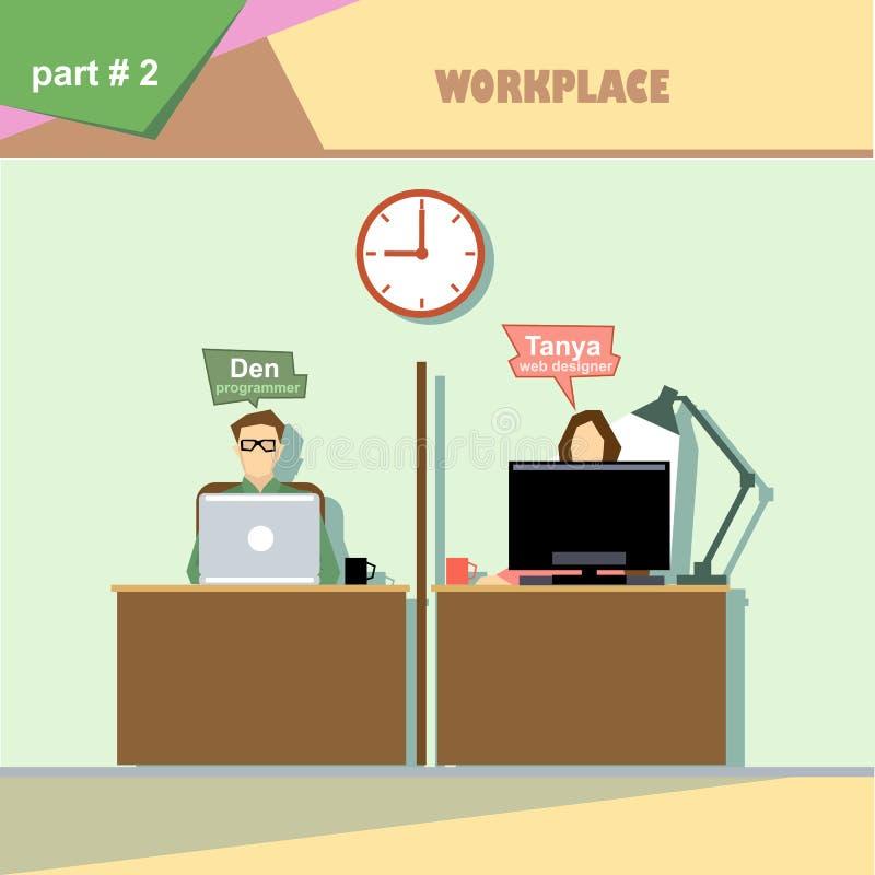 Infographics da situação dos papéis da empresa de negócio com desenhista e programador da Web em seu local de trabalho ilustração stock