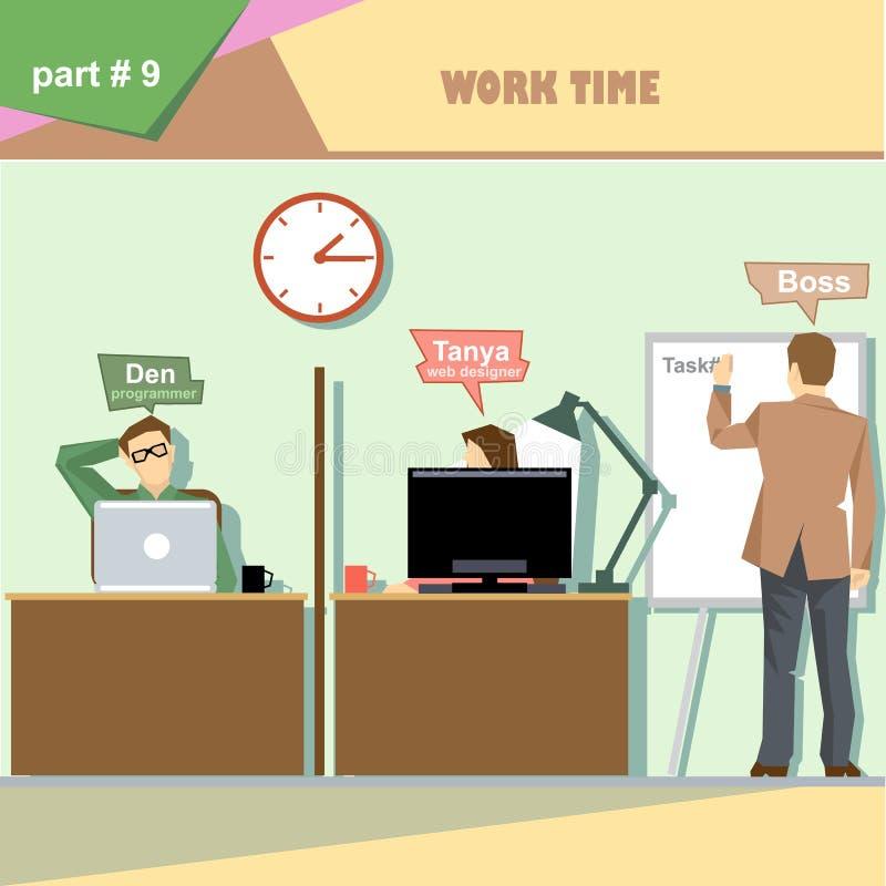 Infographics da situação dos papéis da empresa de negócio com o chefe que faz uma apresentação na placa branca para o programador ilustração royalty free