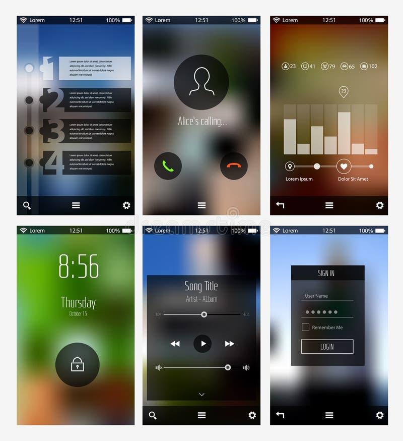 Infographics da tela de UI e moldes móveis dos apps ilustração royalty free