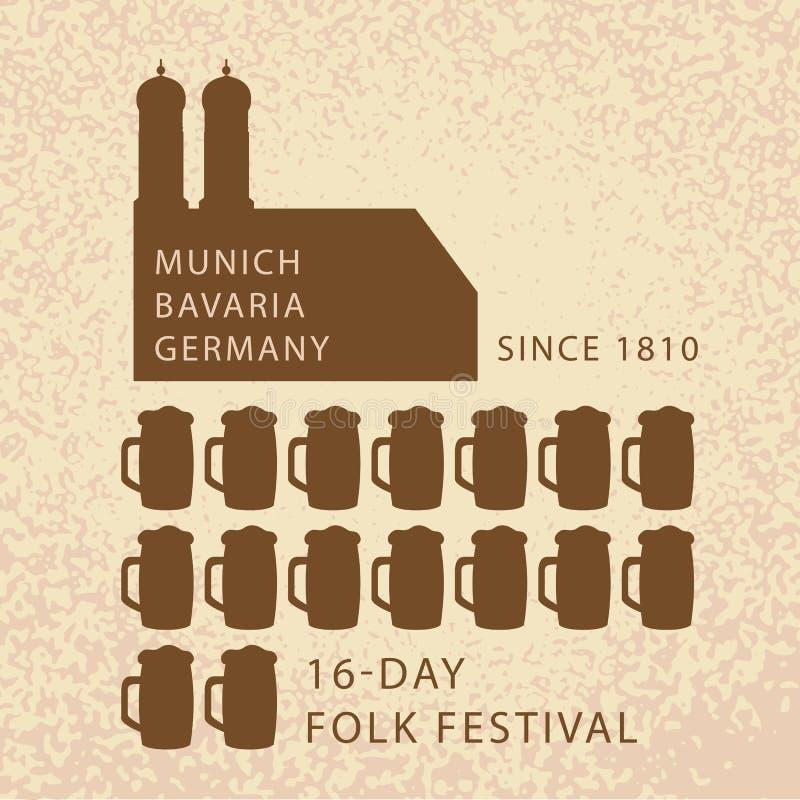 Infographics de bière d'Oktoberfest à Munich, l'Allemagne illustration stock