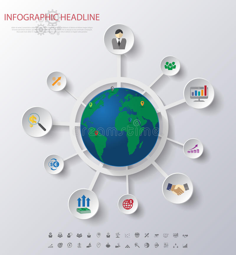 Infographics de carte du monde avec des icônes réglées vecteur/illustration illustration de vecteur