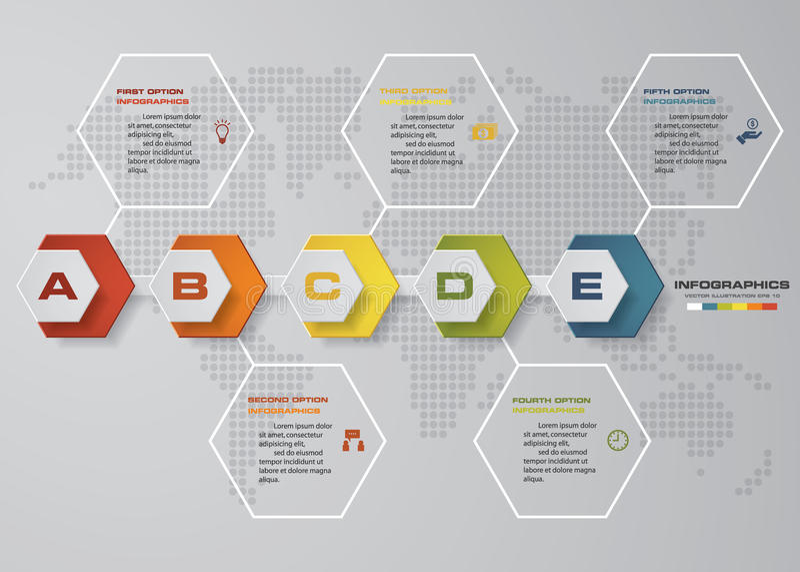 Infographics de chronologie, 5 éléments d'étapes et icônes Calibre propre de bannières de nombre de conception illustration stock