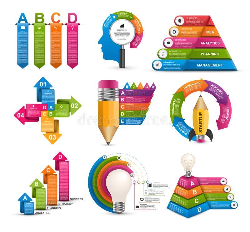 Infographics de collection Éléments de conception Infographics pour la bannière de présentations ou d'information d'affaires illustration de vecteur