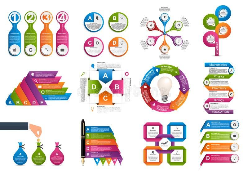 Infographics de collection Éléments de conception Infographics pour la bannière de présentations ou d'information d'affaires illustration stock