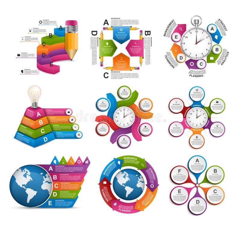 Infographics de collection Éléments de conception Infographics pour la bannière de présentations ou d'information d'affaires illustration libre de droits