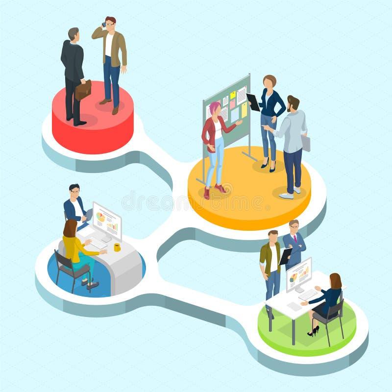 Infographics de comunicación de la gente isométrica del vector stock de ilustración
