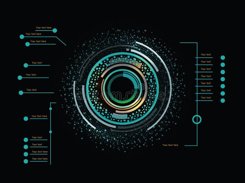 Infographics de couleur en tant qu'affichage à lecture tête haute illustration de vecteur