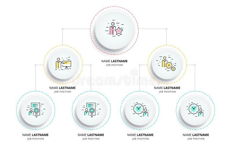 Infographics de diagramme d'organogram de hiérarchie d'affaires Orga d'entreprise illustration libre de droits