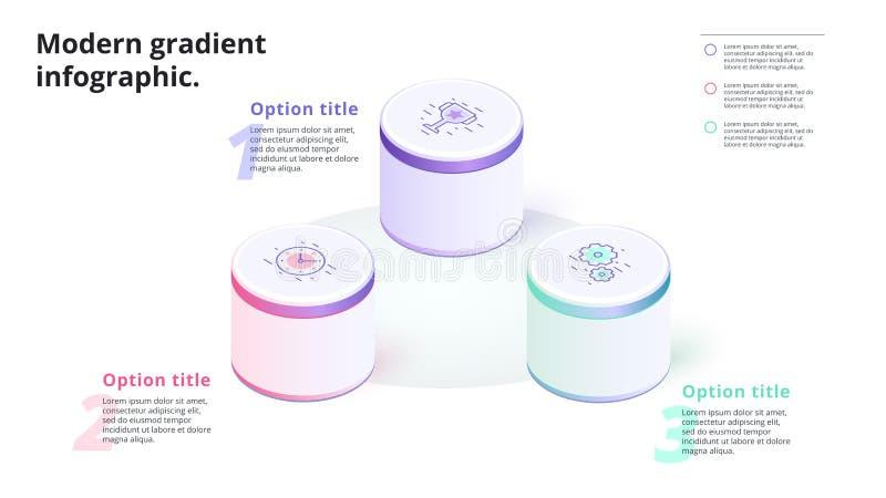 Infographics de diagramme de processus d'étape des affaires 3 avec les colonnes 3d Circ illustration libre de droits