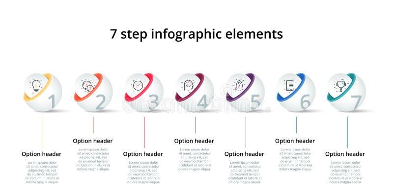 Infographics de diagramme de processus d'affaires avec 7 cercles d'étape Éléments d'entreprise circulaires de graphique de déroul illustration libre de droits