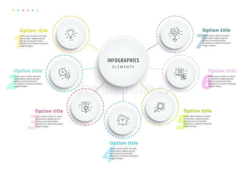 Infographics de diagramme de processus d'affaires avec 7 segments d'étape Circul illustration de vecteur