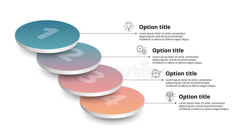 Infographics de diagramme de processus d'affaires avec 4 segments d'étape Circul illustration de vecteur