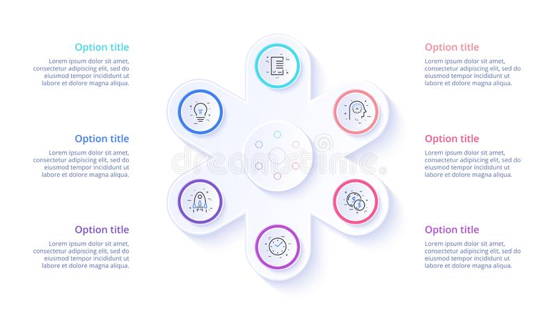 Infographics de diagramme de processus d'affaires avec 6 segments d'étape Circul illustration de vecteur