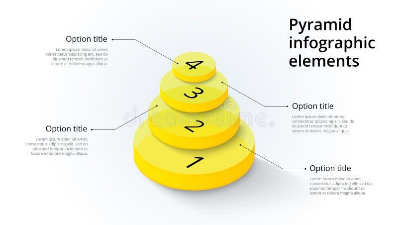 Infographics de diagramme de processus d'affaires avec 4 segments d'étape Isomet illustration de vecteur