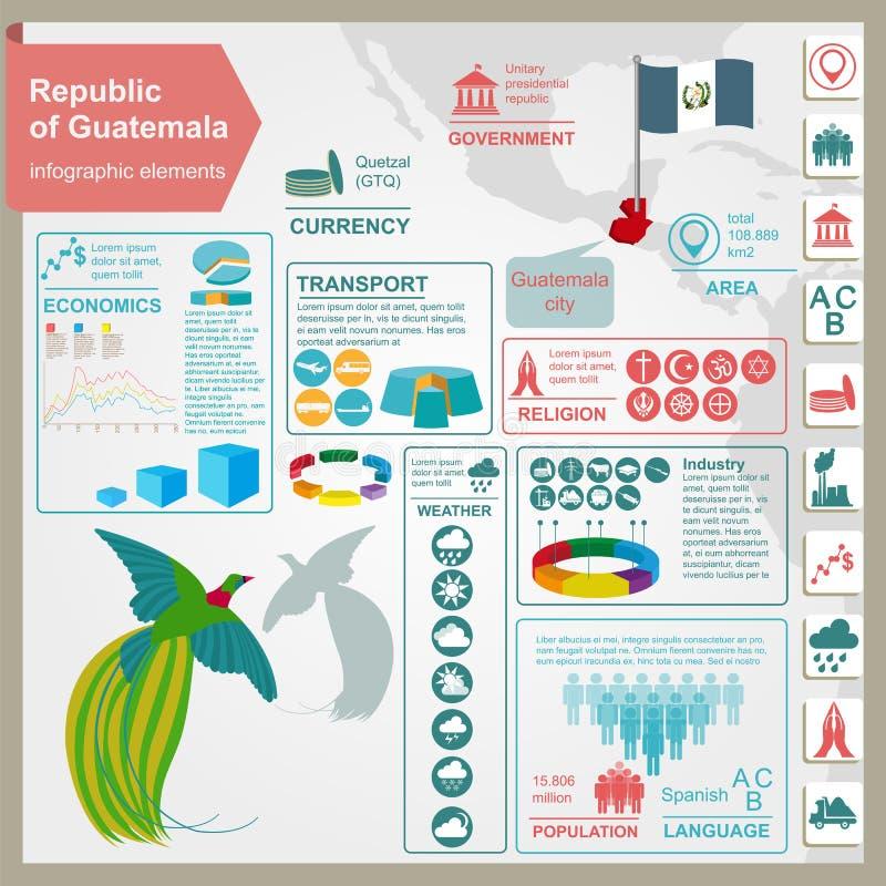 Infographics de Guatemala, datos estadísticos, vistas stock de ilustración
