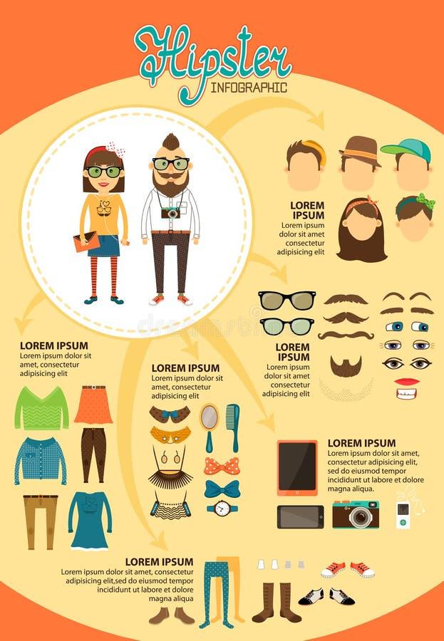 Infographics de hippie avec des éléments de conception de mode illustration libre de droits