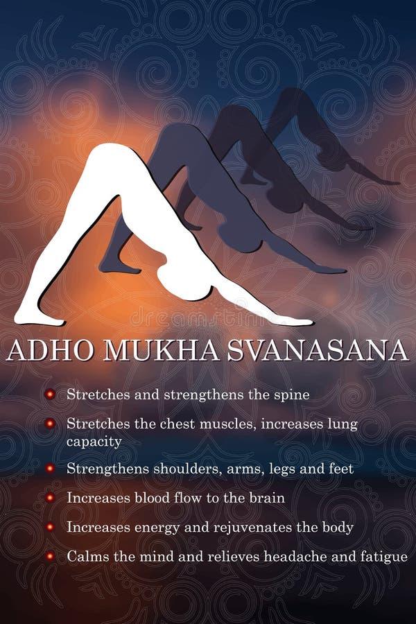 Infographics de la actitud de la yoga, ventajas de la práctica stock de ilustración
