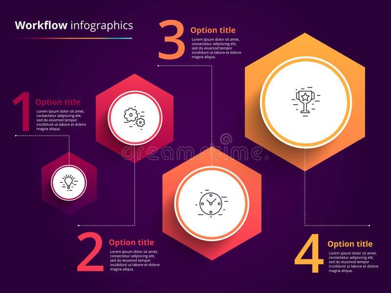 Infographics de la carta de proceso de negocio con 4 círculos del paso Circula stock de ilustración