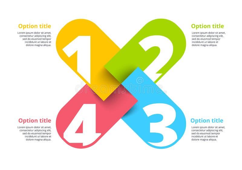 Infographics de la carta de proceso de negocio con 4 círculos del paso Circula libre illustration