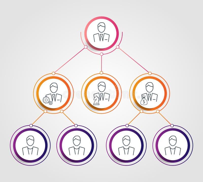 Infographics de la carta del círculo de la jerarquía del negocio Elementos corporativos del gráfico de la estructura de organizac ilustración del vector