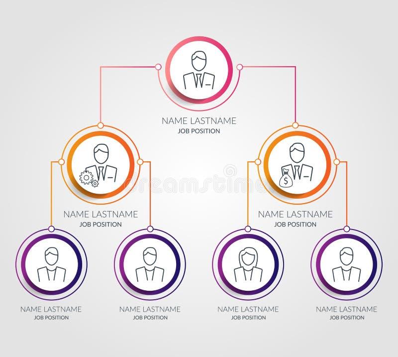 Infographics de la carta del círculo de la jerarquía del negocio Elementos corporativos del gráfico de la estructura de organizac libre illustration