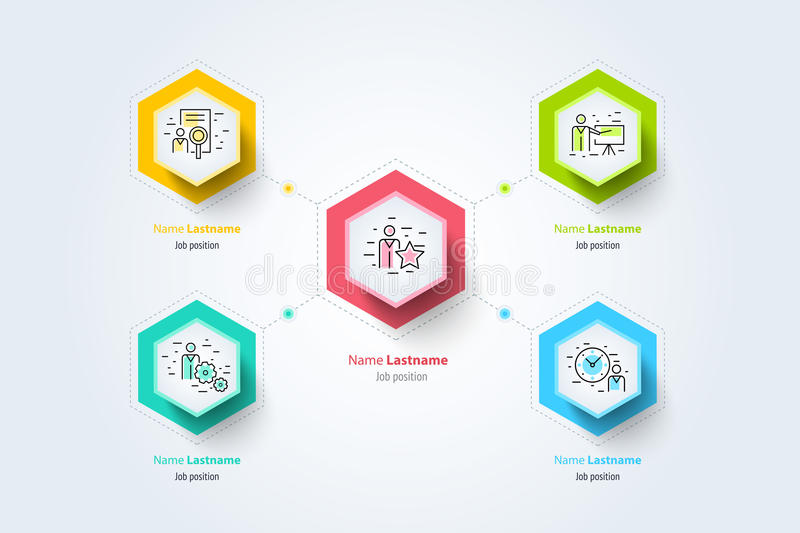 Infographics de la carta del organogram de la jerarquía del negocio corporativo ilustración del vector