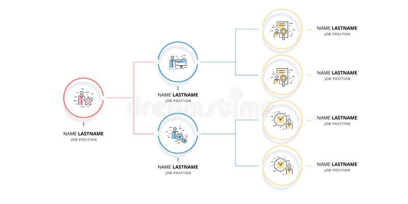 Infographics de la carta del organogram de la jerarquía del negocio Elementos corporativos del gráfico de la estructura de organi libre illustration