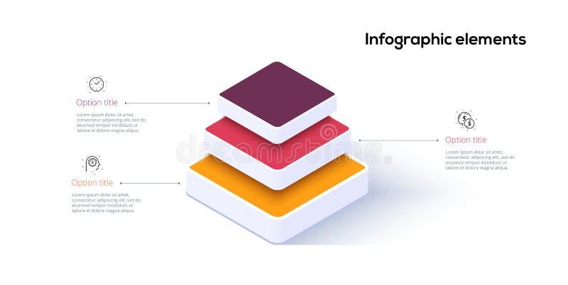 Infographics de la carta de la pirámide del negocio con 3 pasos Las etapas piramidales representan elementos gráficamente Plantil stock de ilustración