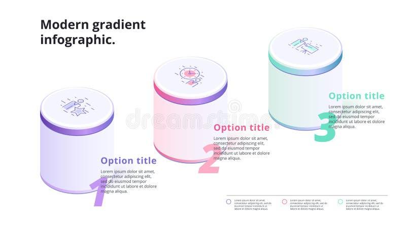 Infographics de la carta de proceso del paso del negocio 3 con las columnas 3d Circ stock de ilustración