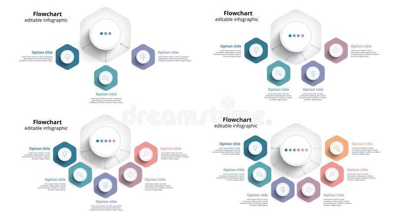Infographics de la carta de proceso de negocio con 3 a 6 segmentos del paso C stock de ilustración