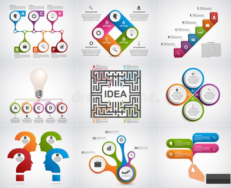 Infographics de la colección Elementos del diseño Infographics para la bandera de las presentaciones o de la información del nego libre illustration