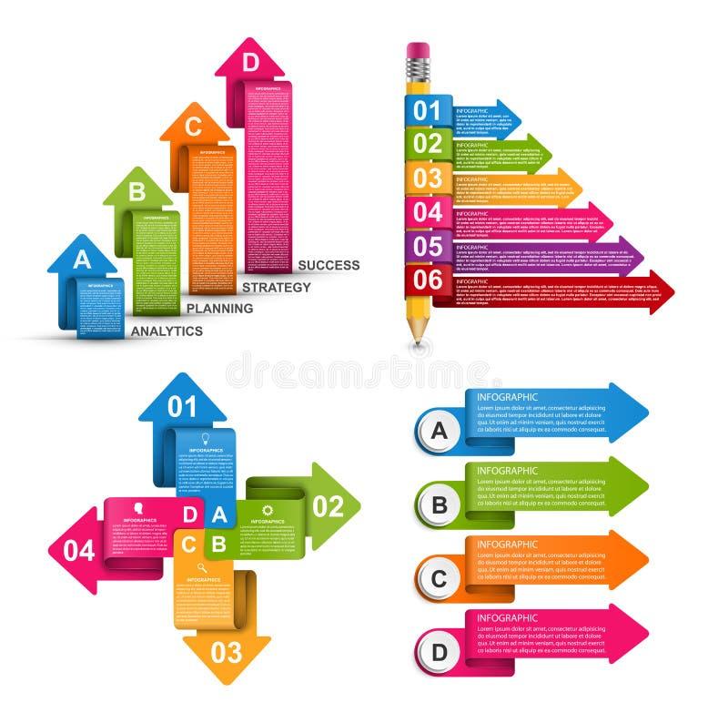 Infographics de la colección Elementos del diseño Infographics para la bandera de las presentaciones o de la información del nego stock de ilustración