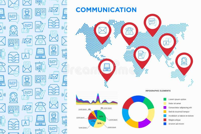 Infographics de la comunicación, indicadores en mapa con la línea fina iconos stock de ilustración