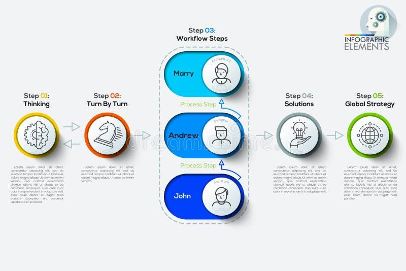 Infographics de la cronología del árbol del negocio Ilustración del vector Puede ser utilizado para la disposición del flujo de t stock de ilustración