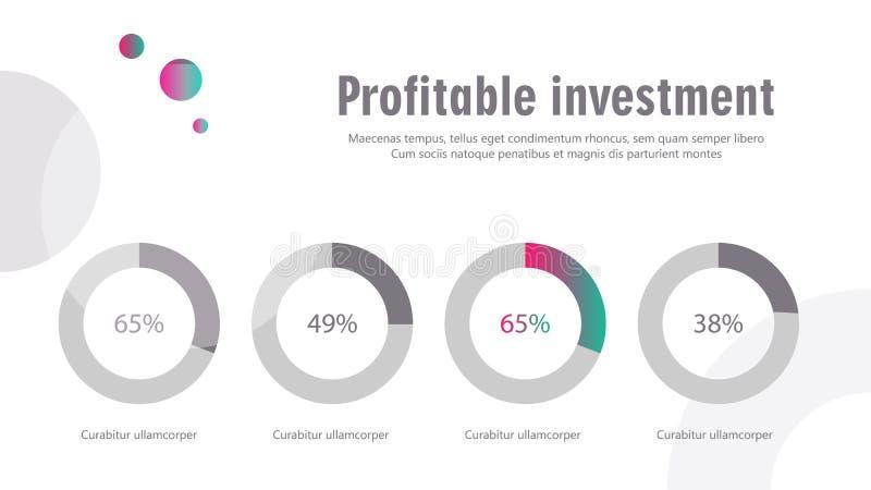Infographics de la cubierta del folleto usado en el márketing y la publicidad stock de ilustración