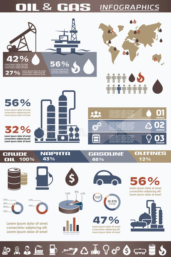 Infographics de la industria del petróleo y gas ilustración del vector