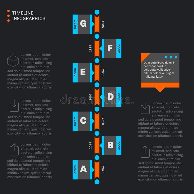 Infographics de la plantilla de la cronología Progreso vertical ilustración del vector