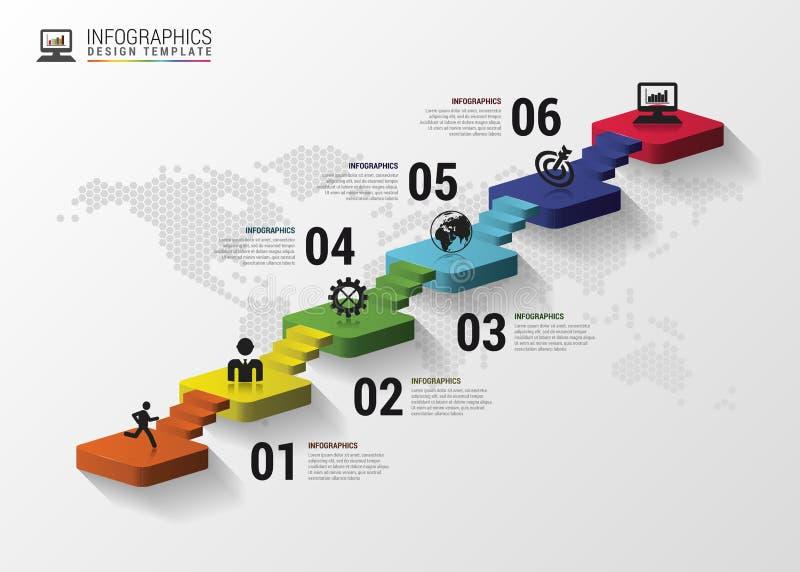 Infographics de las escaleras 3d o plantilla abstracto de la cronología Ilustración del vector libre illustration