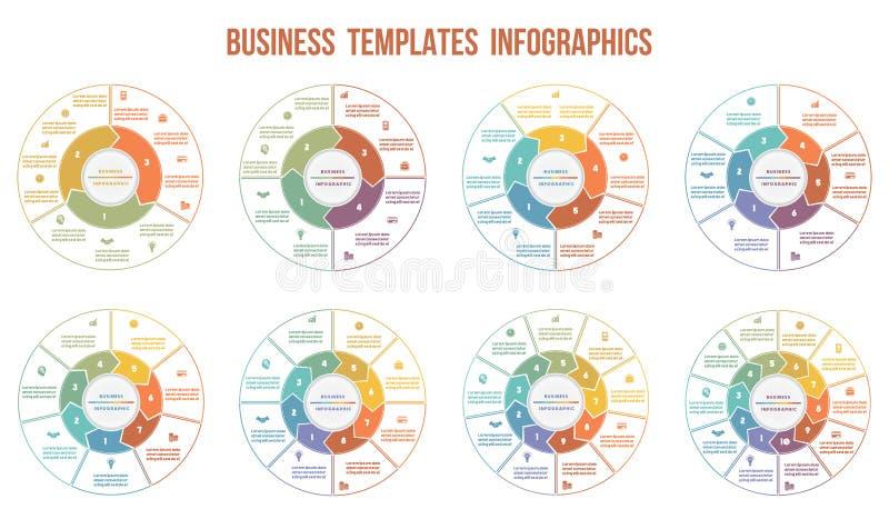 Infographics de las flechas del círculo Plantillas para 3, 4, 5, 6, 7, 8, 9, libre illustration